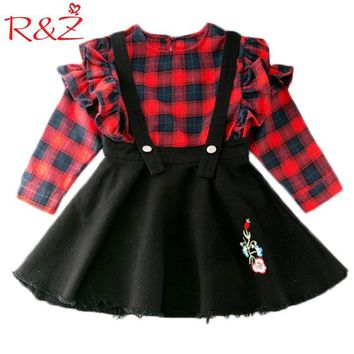 R&Z 2017 New Girls Plaid Set Long Sleeve Blouse + Strap Skirt 2PCS Suits Lattice Lotus Leaf Children's Clothes Flower Denim