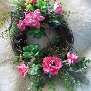 Faux Succulent Wreath, Floral Wreath, Handmade Wreath, Southwest Chic, Customize Bridal, Wedding, Hot Pink Greens, Wall Decor, Table Accent