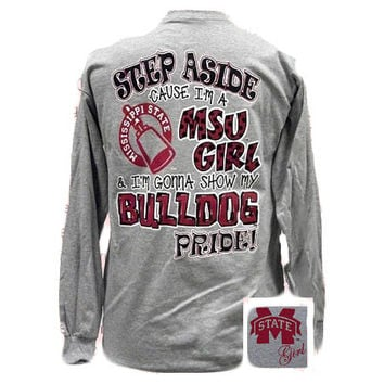 MSU Mississippi State Girl Pride Bulldogs Girlie Bright Long Sleeve T Shirt