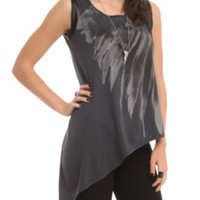 Disney Maleficent Asymmetrical Feather Top