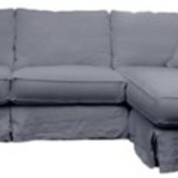Carlie Linen Slipcover Sectional, Gray, Sectionals
