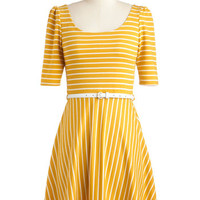 Short Sleeves A-line Colorful Confidence Dress in Saffron Yellow
