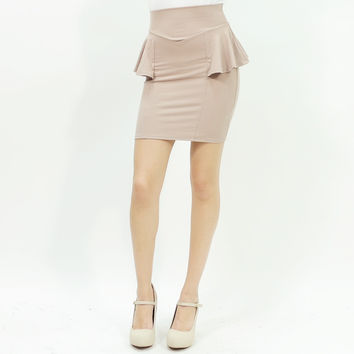 Sexy peplum stretchy bodycon mini skirt beige