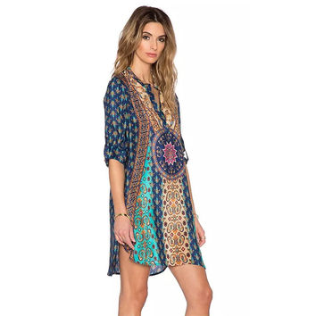 2016 Geometric Ethnic Print V-Neck Long  Sleeve Shift Dress Vintage  Boho Hippie femme Women Summer Dress vestidos SSOM2293