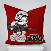 Lego Stromtrooper StarWars Square Pillow Cover, Pillow Case, Cushions Pillow Cover, Home Decor Pillow, Bed Pillow, Bedding, Housewares