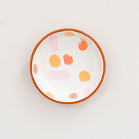 Hand painted terracotta ring dish - salmon, pink, and coral brush strokes