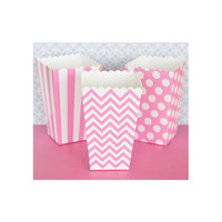 Popcorn Boxes - Pink Chevron Polka Dot or Stripe for Candy Bar - Wedding Favors Party Favor