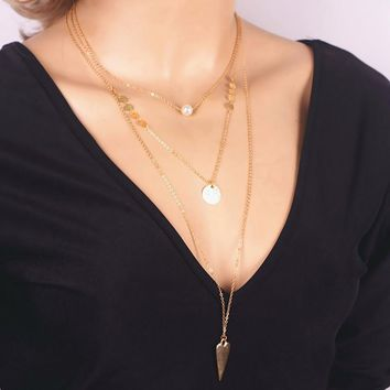 gold plated multilayer tassel sequin coin simulated pearl triangle pendant