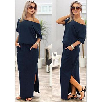 2017 Sexy Summer Women Boho Maxi Dress Short Sleeve Side Slit Loose Evening Party Long Beach Dress with Pocket Vestidos KH804156