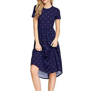 Casual Polk Dot Knee Length Dresses Womens Fashion Short Sleeve Round Neck Dresses Plus Size Robes WS9728U