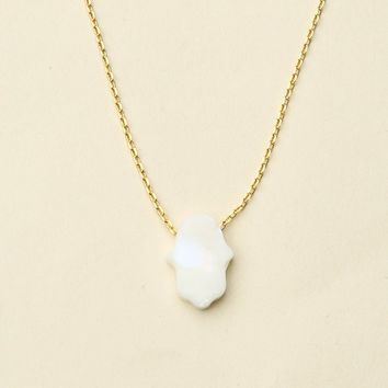 WHITE OPAL STONE HAMSA HAND NECKLACE