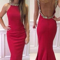 2016 Sexy Red Mermaid Prom Dresses Backless Vestidos de Fiesta 2016 Formal Party Gowns