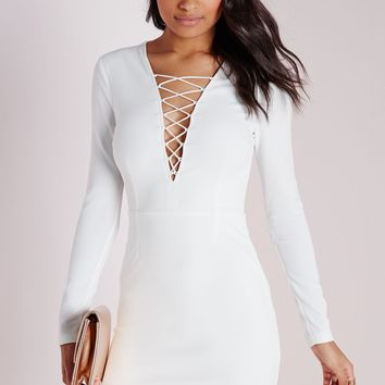 CREPE LACE UP FRONT MINI DRESS WHITE