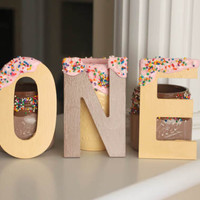 First Birthday Party, ONE Letters, Wooden Letters, Donut Party, Sprinkle Party, Block Letters, First Birthday Decorations, Photo Props