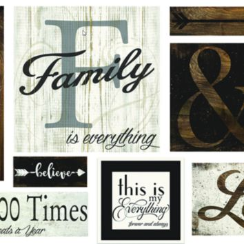 Family Wall Art - 87495 Set 10 Piece Professional Wall Décor Canvas Wall Art & Wood Wall Art Inspired By Sherwin Williams