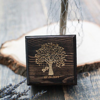Custom Engraved Rustic Tree with Initials in Hearts - Wedding Wood Ring Box