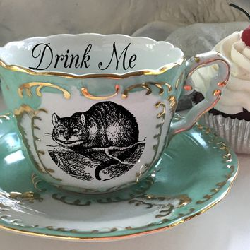 LARGER SIZE! Alice in Wonderland Gold Teacup / Saucer Set, Pick Your Character, Lewis Caroll Teacup, Alice Tea Party, Wonderland Mug Cup