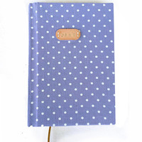 personalized blue dots hardcover notebook