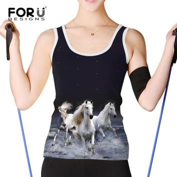 FORUDESIGNS Cool Print Crazy Horse Tank Top for Women Casual Ladies Summer 3d Animal Vest Top Slim Fit Novelty Camisoles