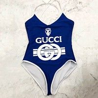 Gucci Tide brand women's sexy point collar one-piece sexy swimsuit blue