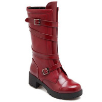 Mid-Calf Buckle Strap Design Boots