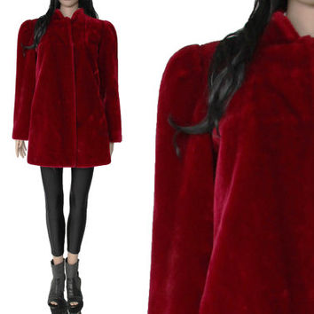Blood Red Faux Fur Coat SASSON Union Made Goth Hipster 90s Clothing Winter Outerwear Womens Size Medium