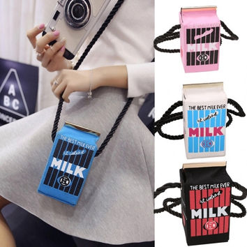 Women Ladies Girls Messenger Bag Cute Stereo Mini Milk Box Design Canvas Shoulders Bag