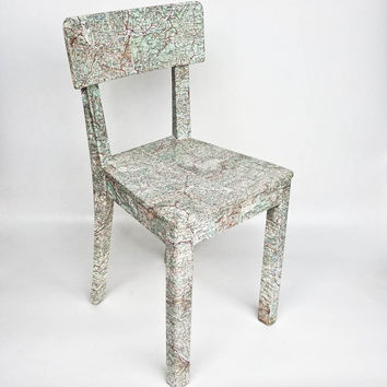 Decoupaged Kitchen Chair / Vintage Maps / Yugoslavia/ Wood / 50's
