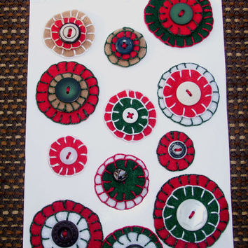 HANDMADE Christmas Holiday Appliques, Colorful FELT PENNIES, Crafts Supplies, Sewing, Scrapbooking, ooak, folk art