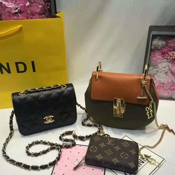 year end promotion 3 pcs of bags combination chloe bag chanel little bag lv wallet