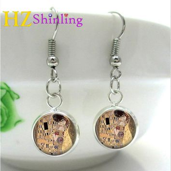 NHE-0011 Dangle Earrings Gustav Klimt The Kiss Earring Glass Art Picture Charm Handcrafted Mother and Child Earrings
