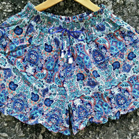 Floral Paisleys Ruffle Hem Shorts Vintage Styles Boho Summer Clothing Bohemian Hippies Retro festivals outfit Clothes Gypsy for women Blue