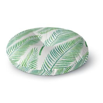 "83 Oranges ""Green Palm"" Teal Green Illustration Round Floor Pillow"