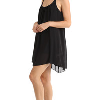 SCOOP NECK CHIFFON SLIP DRESS - BLACK