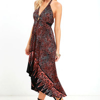 White Crow Scenic Route Black Print High-Low Halter Dress