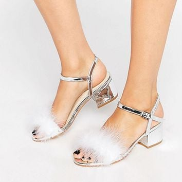 Truffle Faux Feather Mid Block Heeled Sandals at asos.com