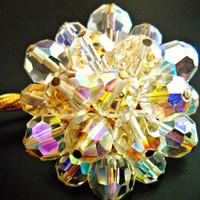 Alice Caviness AB Brooch Rainbow Flower Stem Signed Vintage 4 Inches ....Beautiful