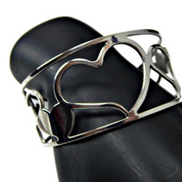 Modernist Open and Solid Hearts Wide Cuff Bracelet Silver Tone