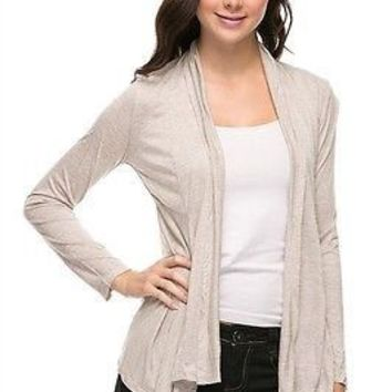 Casual Solid Long Sleeve Open Front Cardigan Sharkbite Hem Ruched Back