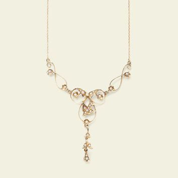 Edwardian Seed Pearl Swallow Necklace