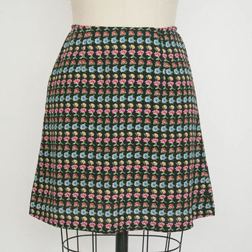 Vintage 1990s Daisy Mini Skirt - Black Multi. Color - Floral Print - Women's Small