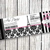 Paris Boarding Pass Invitation Birthday Party Eiffel Tower pink and black damask Airplane Ticket printable parisian themed party decor