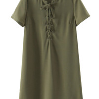 Army Green Lace Up Front Shift Dress