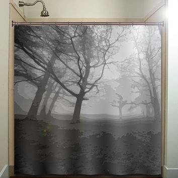 haunted forest misty shades of gray trees shower curtain bathroom decor fabric kids bath white black custom duvet cover rug mat window
