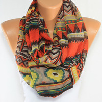 NEW SEASON Tribal Scarf Ethnic Scarf Native Scarf Aztec Scarf Orange Scarf Lightweight Scarves Wraps Women Fashion Accessories ESCHERPE