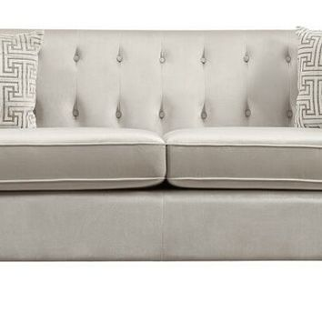 Sundance collection contemporary style ivory velvet fabric upholstered sofa with tufted accents