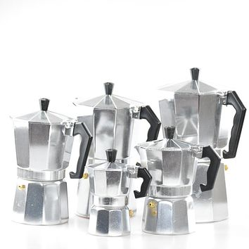 Free Shipping Classic Aluminum Moka Pot Italian Espresso Coffee Maker Percolators 1/3/6/9/12 Cups Mocha Accessories