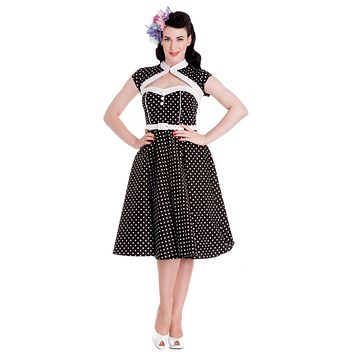 Hell Bunny Retro Mod Black and White Polka Dot with Bolero Swing Dress