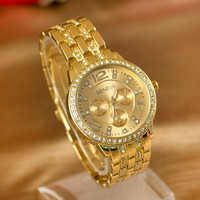 New Arrival Trendy Gift Awesome Great Deal Designer's Good Price Stylish Men Gold Stainless Steel Band Diamonds Ladies Quartz Watch [6049428609]