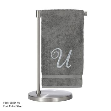 Monogrammed Bath Towel, Personalized Gift, 27 x 54 Inches - Set of 2 - Silver Script Embroidered Towel - 100% Turkish Cotton- Soft Terry Finish - For Bathroom,Kitchen or Spa - Script U Gray